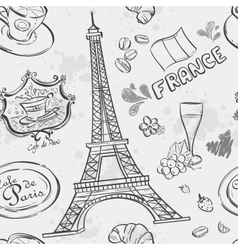 texture with the image of the Eiffel Tower vector image