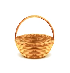 wicker basket isolated vector image vector image