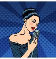 Beautiful Woman Singing with Microphone Pop Art vector image