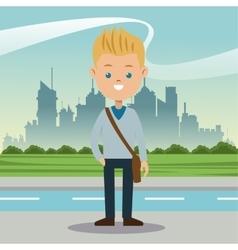 boy blond blue eyes student urban background vector image
