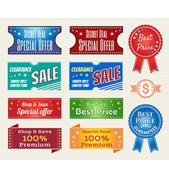 Promotion set of retro promotion discount sale and vector