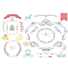 Vintage wedding iconsFloral doodle Decor set vector image