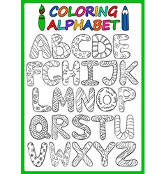 Coloring Children Alphabet With Cartoon Capital vector image
