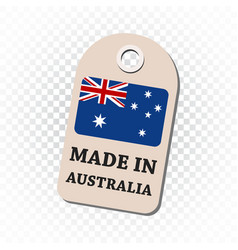 Hang tag made in australia with flag on isolated vector