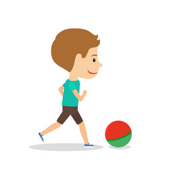 little boy running with ball vector image vector image