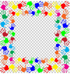 Multicolored handprints border isolated on vector