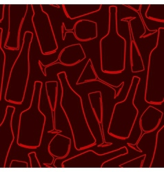 seamless background with bottles and glasses vector image