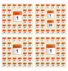 Universal set of wall calendar from may to august vector