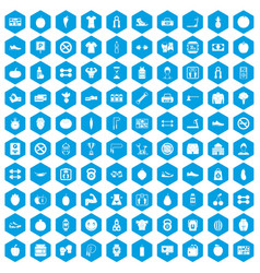 100 gym icons set blue vector