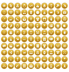 100 heart icons set gold vector