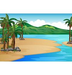 A beach with palm trees vector