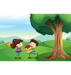 A boy dating a girl at the hilltop vector image