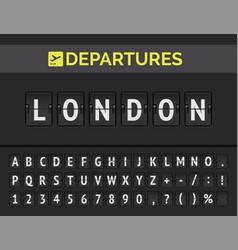 Airport flip board font in europe london vector