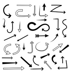 arrows set mixed style black flat icons vector image