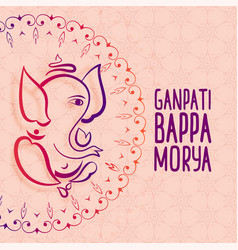 Artistic festival greeting ganesh chaturthi vector