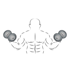 Athlete with two dumbbells vector image