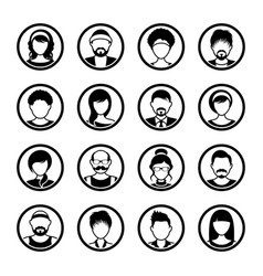 Avatar circle icons male and female vector