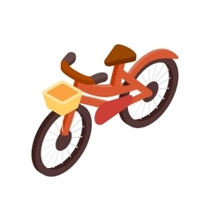 Bicycle with basket isometric 3d icon vector image