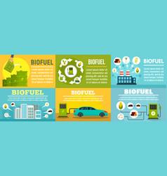 Bio fuel station banner set flat style vector