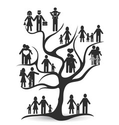 Black family tree vector