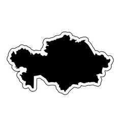 black silhouette of the country kazakhstan with vector image