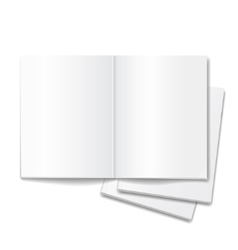 blank open books isolated over white background vector image