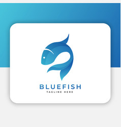 blue fish logo design inspiration vector image