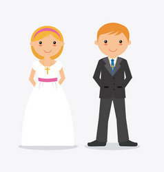 Boy and girl in communion suit vector