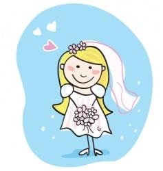 bride in white vector image