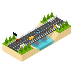 bridge highway over river isometric view vector image