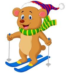 Brown bear cartoon skiing vector image