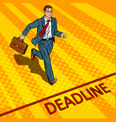 Businessman run to deadline pop art vector