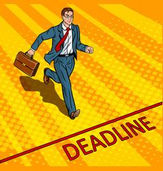 businessman run to deadline pop art vector image