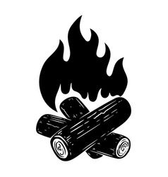 camp fire on white background design element vector image