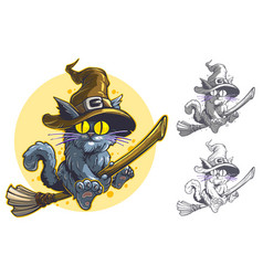 Cartoon funny halloween flying cat in witch hat vector