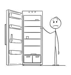 Cartoon of hungry man and empty fridge vector