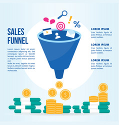 cartoon sales funnel concept banner card vector image