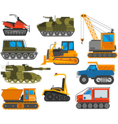 Caterpillar equipment tractor set vector
