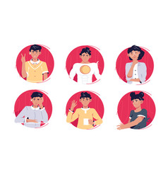 Circle avatars different persons vector