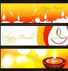 colorful diwali headers vector image