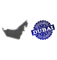 Composition of halftone dotted map of united arab vector