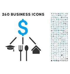 Consumption Pattern Icon with Flat Set vector image