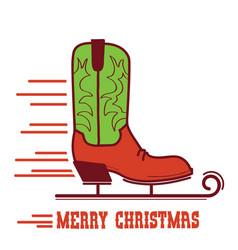 Cowboy merry christmas card cowboy ice skate boot vector