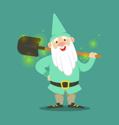 Cute dwarf in a light blue jacket and hat standing vector