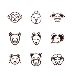 cute face animals cartoon icons set thick line vector image