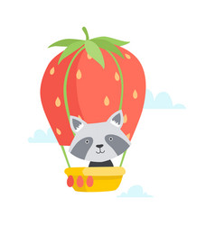 cute little raccoon travelling by hot air balloon vector image