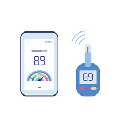 diabetes app with blood sugar level on phone and vector image
