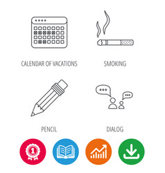 Dialogue pencil and smoking icons vector