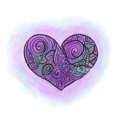 Doodle heart with watercolor imitation vector