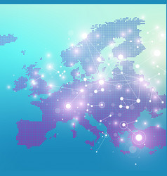 Dotted europe map geometric graphic background vector